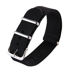 WATCH Jstrap Band Nato Nylon Ballistic Straps Canvas Straps With Stainless Steel Buckle 18MM 20MM 22MM 20MM Black