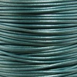 "58 Metallic Truly Teal Round Leather Cord 0.5MM 1 64"" X 50 Meters 54.68 Yds"