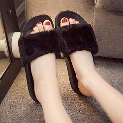 AMA TM Women Soft Plush Flat Slippers Winter Autumn Home Bedroom Slippers US:6 Black