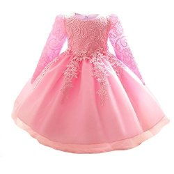 6c3a2527f6122 MYOSOTIS510 Girls' Lace Princess Wedding Baptism Dress Long Sleeve Formal  Party Wear For Toddler Baby Girl 4 Years Pink | R1120.00 | Fancy Dress & ...
