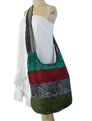 BTP Thai Cotton Hippie Hobo Sling Crossbody Bag Messenger Purse Paisley Print Large Patchwork Random Colors Pwp