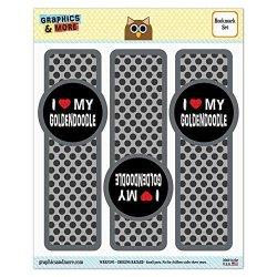 Set Of 3 Glossy Laminated Bookmarks - I Love My Dog E-k - Goldendoodle