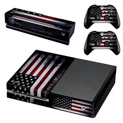 UUShop Protective Vinyl Skin Decal Cover For Microsoft Xbox One Console Wrap Sticker Skins With Two Free Wireless Controller Decals American Falg