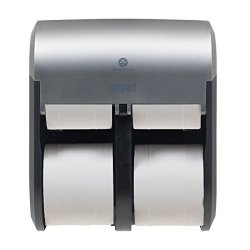 Compact 4-ROLL Quad Coreless High-capacity Toilet Paper Dispenser By Gp Pro Faux Stainless 56746A. 11.750 W X 6.900 D X 13.250 H
