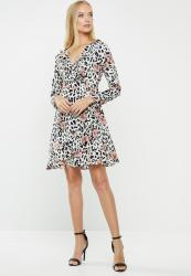 Revenge Animal Print Wrap Dress - Pink