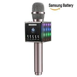 CJJC Wireless Karaoke Microphone Simple and Stylish Bluetooth Microphone Speaker Home KTV Party Use Compatible with Android /& iOS