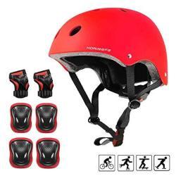 Kamugo Kids Helmet Knee Pads For Kids 3-8 Years Toddler Helmet Kids Bike Skateboard Helmet Youth Hoverboard Cycling Scooter Roll
