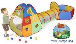 UTEX 3 In 1 Pop Up Kids Play Tent With Tunnel And Ball Pit For Boys Girls Babies And Toddlers For Indoor And Outdoor