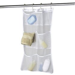 Mexidi Hanging Mesh Pockets Bath Shower Caddy Organizer Storage Hang On Shower Curtain Rod liner Hooks For Bathroom Accessories