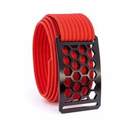 38 Inch Black Honeycomb Belt Buckle W red Strap