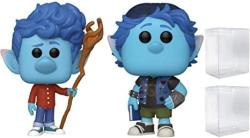 Funko Pop Disney Pixar Onward - Ian Lightfoot With Staff And Barley Lightfoot - Bundle Of 2 Pops - Shipped In Pop Protectors