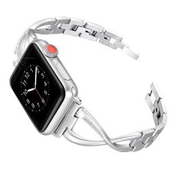 Secbolt Bling Bands For Apple Watch Band 42MM Women Steel Accessories Metal Replacement Wristband Sport Strap X-link For Apple W