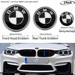 Deals On Black And White 3pcs 82mm Hood Emblem 74mm Trunk Emblem 45mm Steering Wheel Center Emblem For Bmw Emblems Replacement For Bmw X3 X5 X6 3 4 Compare Prices
