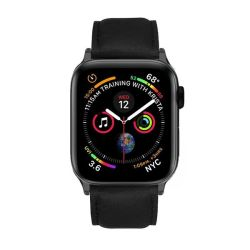 Colton James Leather Strap For Black space Grey 44MM Apple Watch - Black