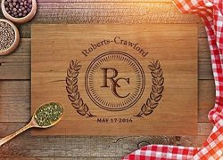 Froolu Wooden Cutting Boards By Personalized Cutting Board For Wedding Gift Free Engraving Cherry 9X12 Handle