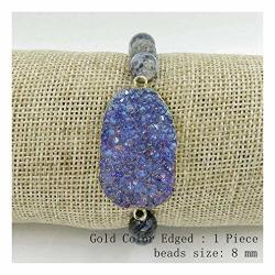 Barsly Fair Agates Round Beads Plated Silver And Gloden Edged Brazilian Agates Geode Slice Crystal Druzy Bracelet Dark Blue Druz
