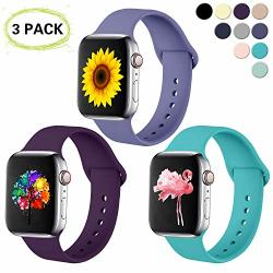 Ilopee 3 Pack Bands For Apple Watch 42MM 44MM Series 5 4 3 2 1 Blurish Gray plum teal S m