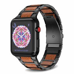 Notocity Compatible With Apple Watch Band 42MM 44MM Stainless Steel Natural Wooden Red Sandalwood Watch Strap For Men Women Black