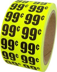 """Square Deal Recordings & Supplies 99 In-store Use Day-glo Yellow Display Labels 3 4"""" X 1 2"""" - 1 Roll 1000 Labels MSLW3400 Retail Price Stickers"""