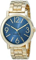 Nine West Women's NW 1694BLGB Blue Sunray Dial Gold-tone Bracelet Watch