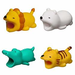 Cable Bites Animals 4 Pack Cute Animal Crocodile tiger lion polar Bear Data Charger Charging Cord Line Cable Protector Buddies Compatible For Iphone USB Cable Bite Saver