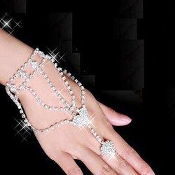 KaLaiXing Wonderful Gift. Rhinestone Hand Harness Bracelet Bangle Slave Chain Link Finger Ring Bracelet