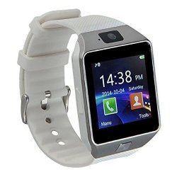 Pandaoo Smart Watch Mobile Phone Unlocked Universal GSM Bluetooth 4.0 Music Player Camera Calendar Stopwatch Sync With Android Smartphones White