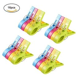 Laundry and More Towel Pegs Large Towel Clips and Bright Color Plastic Quilt Clips for Sunbeds URAQT 12 pcs Beach Towel Clips Sun Loungers Pool Chairs