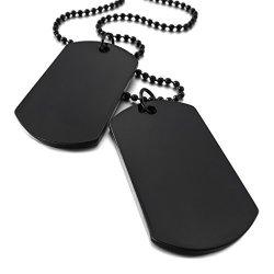 Inblue Men Women's 2 Pcs Alloy Pendant Necklace Black Double Dog Tag Army Style Tribal 26 Inch Chain