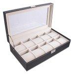 XL 10 Watch Pu Display Case Organizer Leather Glass Top Jewelry Storage Men Gift