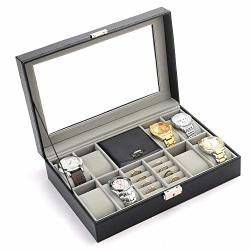 Pengke 8 Slots Watch Box Pu Leather Watch Organizer And Jewelry Or Rings Display Case With Glass Lid Black Pack Of 1