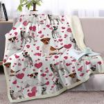 Blessliving Red Hearts Dog Cat Print Plush Blanket Cute Puppy For Kids Adults 3D Animal Print Plush Blanket Gift For Pet Lovers