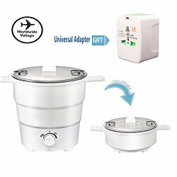 Portable MINI Electric Cooker Foldable Silicone Kettle Steamer Foldable Storage - Double Voltage 100V-240V For Kitchen Dormitory Cooking Travel Folding Household Rice Cooker
