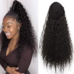 Cinhoo Heat Resistant Synthetic Kinky Straight Ponytail Long Afro Kinky Curly Hair Bun Extension With Two Plastic Combs Hairpiec