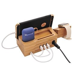 BoxThink Charging Station Apple Watch Airpods Charger Stand Iphone Charging Dock Cable Management Wood Charging Station With 3 U