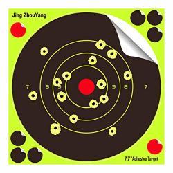 JingZhouYang Shooting Targets 7.7 Inch Self Adhesive Paper Reactive Splatter Targets Stickers 100 & 75 & 50 & 40 & 25 Pack For Gun Rifle Pistol Bb Gun Airsoft Pellet Gun Air Rifle