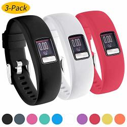 Watbro Bands For Garmin Vivofit 4 Smooth Silicone Replacement Wristbands For Garmin Vivofit 4 Activity Tracker With Secure Metal Watch Clasp Buckle Straps Women Men Large Small