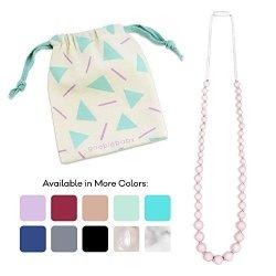 Goobie Baby Audrey Silicone Teething Necklace For Mom To Wear 100% Safe Silicone Teething Necklace Pink Quartz