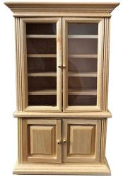 Inusitus Miniature Dollhouse Display Cabinet - Dolls House MINI Furniture Glass Bookcase - 1 12 Scale Light Brown