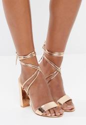 gold lace up block heels cheap online
