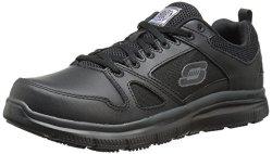 Skechers For Work Men's Flex Advantage Slip Resistant Oxford Sneaker Black 11 W Us