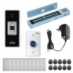Visionis FPC-7758 One Door Access Control Outswinging Door 600LBS Maglock VIS-3024 Indoor + Outdoor Rated IP68 Fingerprint Biometric Reader Wiegand Standalone 200 Fingerprints 500 Em Card Kit