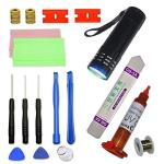 Tlbtek S9 Black Curved Glass Accessories Fix Kit S9 Replacement Outer Glass Tools Compatible Samsung Galaxy S9 Screen Replacemen