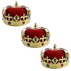 Royal Jeweled King's Crown - Costume Accessory 3 Pack