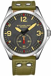 Original St Hrling Men S Stainless Steel Sport Aviator Watch Casual Leather Strap With White Contrast Stitching 684 Series Green