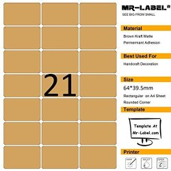 Mr-Label Kraft Brown Label Sticker - Permanent Self-adhesive Matt Laser inkjet Printer - For Handcrafts Gifts Home Baking Package Envelope Seals - 525 Labels