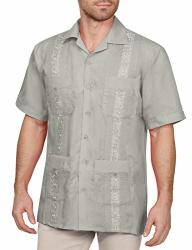 NE People Men's Short Sleeve Cuban Guayabera Button Down Shirts Top S-4XL Lightgrey