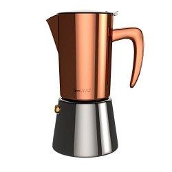 BonVIVO Intenca Stovetop Espresso Maker Italian Espresso Coffee Maker Stainless Steel Espresso Maker Machine For Full Bodied Coffee Espresso Pot For 5-6 Cups Moka