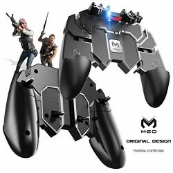 Meo Mobile Game Controller Six-finger - Game Controller With Gaming Trigger Shoot Sensitive Controller Aim & Fire Trigger Compatible With Iphone android Black Renewed
