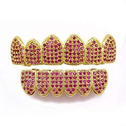 Bishelle Hip Hop Teeth Grills For Teeth Gold Plated All Iced Out Pink Rhinestone Gold Grillz Set For Women
